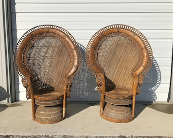 Pair of Peacock Chairs Boho Chic Regency Rattan Armchair Chair Chippendale Chinoiserie Bamboo Miami Chair Mid Century Bentwood Wicker