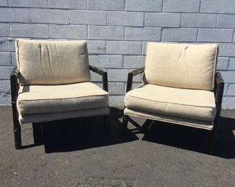 Pair of Chairs Faux Bamboo Set Armchairs Chinoiserie Chinese Chippendale Vintage Mid Century Modern Bohemian Boho Chic Lounge Seating Black
