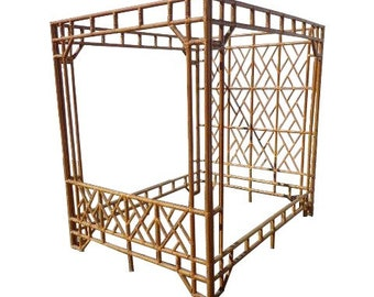 Rattan Canopy Bed Bamboo Headboard Queen Vintage Thayer Coggin Peacock Woven Chinese Chippendale Chinoiserie Bohemian Boho Chic Eclectic