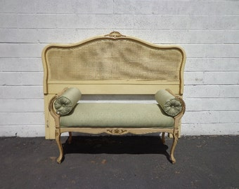 2pc Headboard Bench  Bed Queen Size Cane Hollywood Glam Regency French Provincial Boudoir Vanity Ornate Upholstered Pillows Seating Vanity