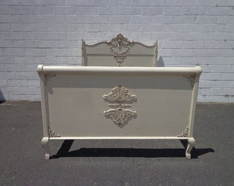 Antique Bed Headboard Shabby Chic Finish Victorian French Provincial Rococo France Shabby Chic Country Bedroom Set PaintedCUSTOM PAINT Avail