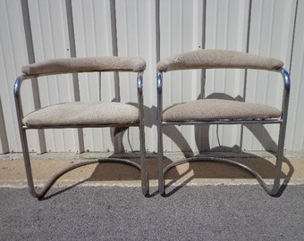 Pair Of Chairs Anton Lorenz Thonet Model SS33 Dining Chrome Metal  Cantilever Mid Century Modern Regency Vintage Midcentury Seating Silver