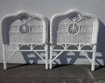 2 Vintage Woven Wicker Rattan Twin Headboards Peacock Sunshine Headboard Twin Bed Beachy Wicker Chinoiserie Boho Bohemian Eclectic MCM