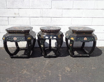 3 Stools Asian Inspired Chinese Lacquer Benches Seating Ottomans Chair Hassock Footstool Chinoiserie Asian Boho Hollywood Regency Chic