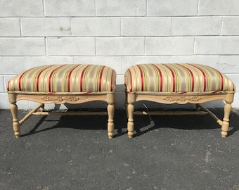Pair of Ottomans Bed Bench French Provincial Seating Wood Traditional Chair Hassock Footstool Boho Stools Country French Shabby Chic Chair