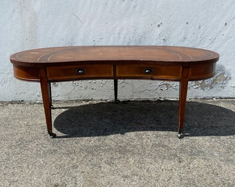 Antique Coffee Table Mahogany Wood Tooled Leather Top Side Accent Hepplewhite Traditional Shabby Chic Vintage Victorian Bedside Federal