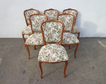 Dining Chairs 6 Louis XVI Country French Provincial Neoclassical Fluted Shabby Chic Hollywood Regency Seating Carved Wood Vintage Venetian