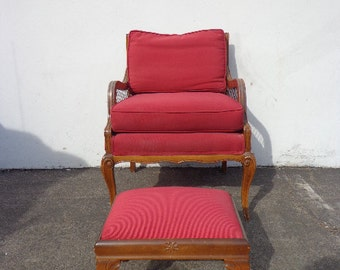 Accent Chair Armchair Ottoman Red Footstool French Provincial Bergere Chic Nailhead Seating Lounge Chesterfield Chippendale Club Living