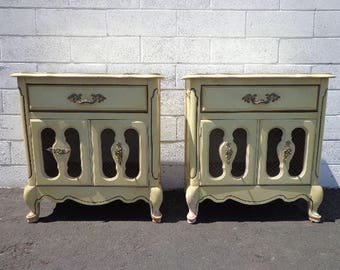2 French Provincial Nightstands Bedside Tables Dresser Chest of Drawers Shabby Chic Antique Bedroom Set Storage Pair of CUSTOM PAINT AVAIL
