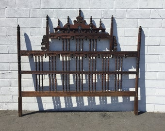 Headboard Bed Hand Carved Wood Pagoda Spanish Revival Gothic Chinoiserie Baroque Hollywood Regency Bohemian Chic Vintage CUSTOM PAINT AVAIL