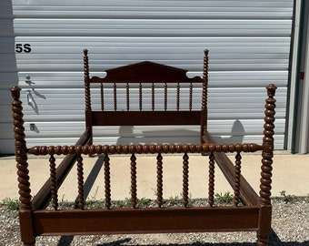 Antique Jenny Lind Bed Country Full Size Wood Spindle Headboard Footboard Woven Shabby Chic Bedroom Cottage Chic Regency Farmhouse Rustic