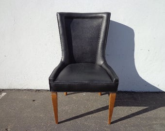 Chair Mid Century Armchair Vintage Lounge Club Regency Danish Style Seating Accent Vanity Vinyl  Retro 1950s 1960s 1970s Living Room Entry