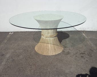 McGuire Sheaf Wheat Dining Table Kitchen Rattan Bohemian Boho Chic Chippendale Chinese Faux Bamboo Palm Beach Chinoiserie Hollywood Regency