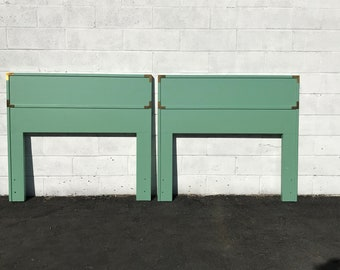 Pair of Headboards Twin Campaign Vintage Mid Century Modern Asian Frame Wood Bedroom Set Boho Chic Style Furniture Panel CUSTOM PAINT AVAIL