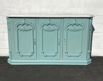 French Antique Victorian Sideboard Cabinet Hutch Carved Wood Console France Provincial Country Vintage Buffet Server CUSTOM PAINT AVAIL