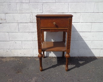 Traditional Vintage Nightstand Antique Wood Bedside Table Bedroom Storage Accent End Table by White Furniture CUSTOM PAINT Available