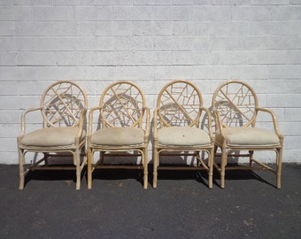 4 Rattan Chairs McGuire Cracked Ice Chinese Chippendale Hollywood Regency Bamboo Armchair Seating Coastal Chinoiserie Bamboo Miami Boho