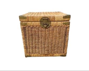Fabulous Wicker Trunk Boho Chic Bohemian Woven Rattan Brass Vintage Decor Storage Basket Decoration Tall Container Weave Rattan Planter