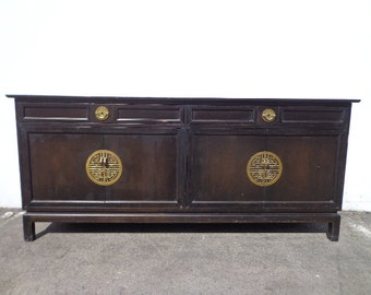 Asian Cabinet Buffet Dresser Furniture Chinoiserie Sideboard Chest Console Brass Table Chinese Carved Wood Campaign Boho CUSTOM PAINT AVAIL