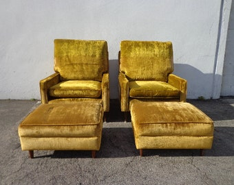 Pair of Chairs and Ottomans Mid Century Modern Lounge Set Armchair Footrest MCM Hollywood Regency Vintage Seating Retro Living Room Boho