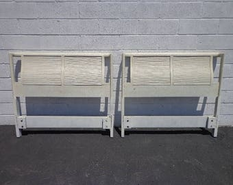 Pair of Headboards Twin Single Bed Beachy Woven Mid Century Modern Chinoiserie Boho Chic Bohemian Eclectic Contemporary CUSTOM PAINT AVAIL