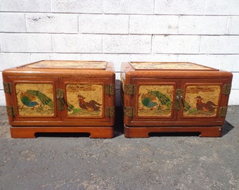 Pair of Antique Tables Cabinets Korean Bedside Tables Hand Painted Asian Pagoda Chinoiserie Boho Chic Media Console Storage Gold Brass