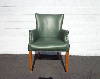 Chair Armchair Accent Green Vintage MCM Chesterfield Handsome Chippendale Mid Century English Wingback Lounge Seating MCM Boho Chic Bohemian
