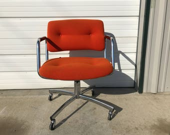Steelcase Task Chair Armchair Desk Mid Century Modern Pollock Knoll Style Office Midcentury Eames Writing Swivel Lounge Vintage Seating