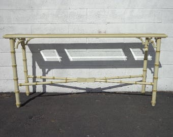 Bamboo Table Console Sofa Vintage Bar Tea Cart Server Tv Stand Storage Mid Century Modern Regency Bamboo Boho Chic Wood CUSTOM PAINT AVAI