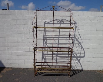 Antique Baker's Rack Kitchen Storage Vintage Etagere Shelving Wrought Iron Brass Farmhouse Cottage Country French Entry Way Display Case