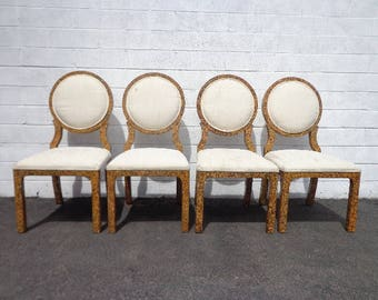 4 Dining Chairs Oval Back Burl Wood Speckled Lacquer Finish Balloon Chinoiserie Designer Chic Hollywood Regency Seating Carved Vintage