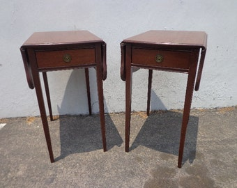 2 Antique Mahogany Drop Side French Nightstands Bedside End Side Tables Dresser Bedroom Chest Wood Painted Furniture Wood CUSTOM PAINT AVAIL