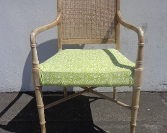 Faux Bamboo Chair Armchair Chinese Chippendale Vintage Mid Century Modern Bohemian Boho Beach Armchair Bentwood Furniture Accent Seating