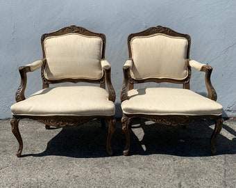 Pair of French Bergere Chairs Armchairs Vintage Wood Lounge Club Regency Shabby Chic Seating Mid Century Chic Decor Wood Neoclassical Boho