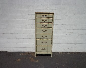 Lingerie Chest Dresser Tallboy French Provincial Drawers Bedroom Storage Closet Dressing Table Shabby Chic Boho Bohemian CUSTOM PAINT Avail