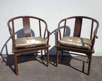 Pair of Chairs Ming James Mont Style Ming Chinese Chippendale Regency Armchair Horseshoe Lacquer Chinoiserie Seating Desk Mid Century Wood