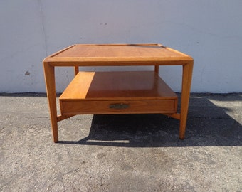 Mid Century Modern Table Furniture Heritage Wood Accent Side Table Hollywood Regency Living Room Nightstand Bedside Shelf Danish Style
