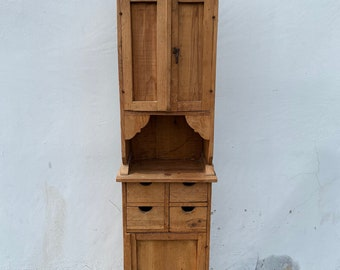 Rustic Wood Cabinet Shelf Unit Primitive Finish Storage Shelf Boho Chic Furniture Hand Made Cabin Bedroom Furniture Forest Reclaimed