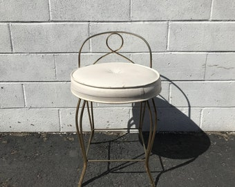 Vanity Stool Chair Bench Seat Hollywood Regency Antique Gold Makeup Chair Leatherette Mid Century Modern Prop Dressing Boudoir Bathroom