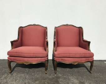 Vintage French LaFleur Wing Chairs Bergere Pair of Armchair Seating Set Lounge Club Regency Shabby Chic Seating Country Provincial Cottage