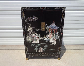Chinese Cabinet Console Vintage Chinoiserie Storage Nightstand Entry Way Table  Campaign Chest Dresser Bureau Buffet Media Drawers Asian