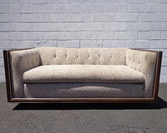 Chesterfield Loveseat Fabric Mid Century Modern Sofa Couch Rustic Lounge Seating Settee Tufted Bohemian Boho Chic Milo Baughman Style Design
