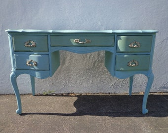 Antique Desk French Provincial Writing Table Vintage Hollywood Regency Boudoir Set Makeup Vanity Shabby Chic Laptop Stand CUSTOM PAINT AVAIL