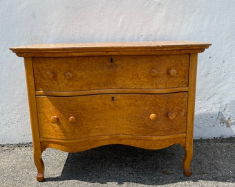 Antique Dresser Chest of Drawers Bedside Table Bedroom Storage Nightstand Vintage Burl Wood Console Wood Table Vanity CUSTOM PAINT AVAIL