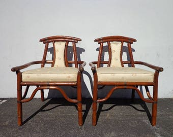 2 Chairs Pair of Armchair Asian Ming Chinoiserie Rattan Bamboo Vintage Mid Century Modern Bohemian Boho Beach Bentwood Furniture Seating