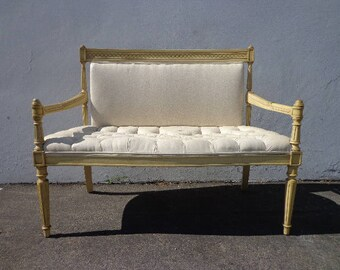 Bench Settee Loveseat French Provincial Boudoir Vanity Bed Vintage Hollywood Regency Entry Chippendale Sofa Shabby Chic Victorian Seating