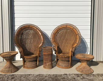 Peacock Chairs Rattan Tables Benches Boho Chic Regency Armchair Chair Chippendale Chinoiserie Bamboo Miami Chair Mid Century Bentwood Wicker