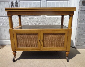 Vintage Bar Tea Cart Buffet Server Console Cabinet Storage Mid Century Modern Casters Regency Glam Retro Hutch Chic MCM Wood Retro Rolling
