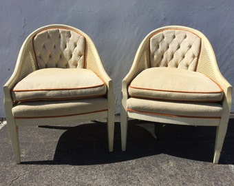 2 Vintage Lounge Chairs Armchair Cane Fabric Lounge Slipper French Provincial Chic Orange Antique Hollywood Regency Chair Wood Queen Anne