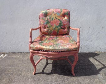 Faux Bamboo Chair Armchair Chinese Chippendale Vintage Bohemian Boho Beach Armchair Bentwood Furniture Accent Seating CUSTOM PAINT AVAILABLE